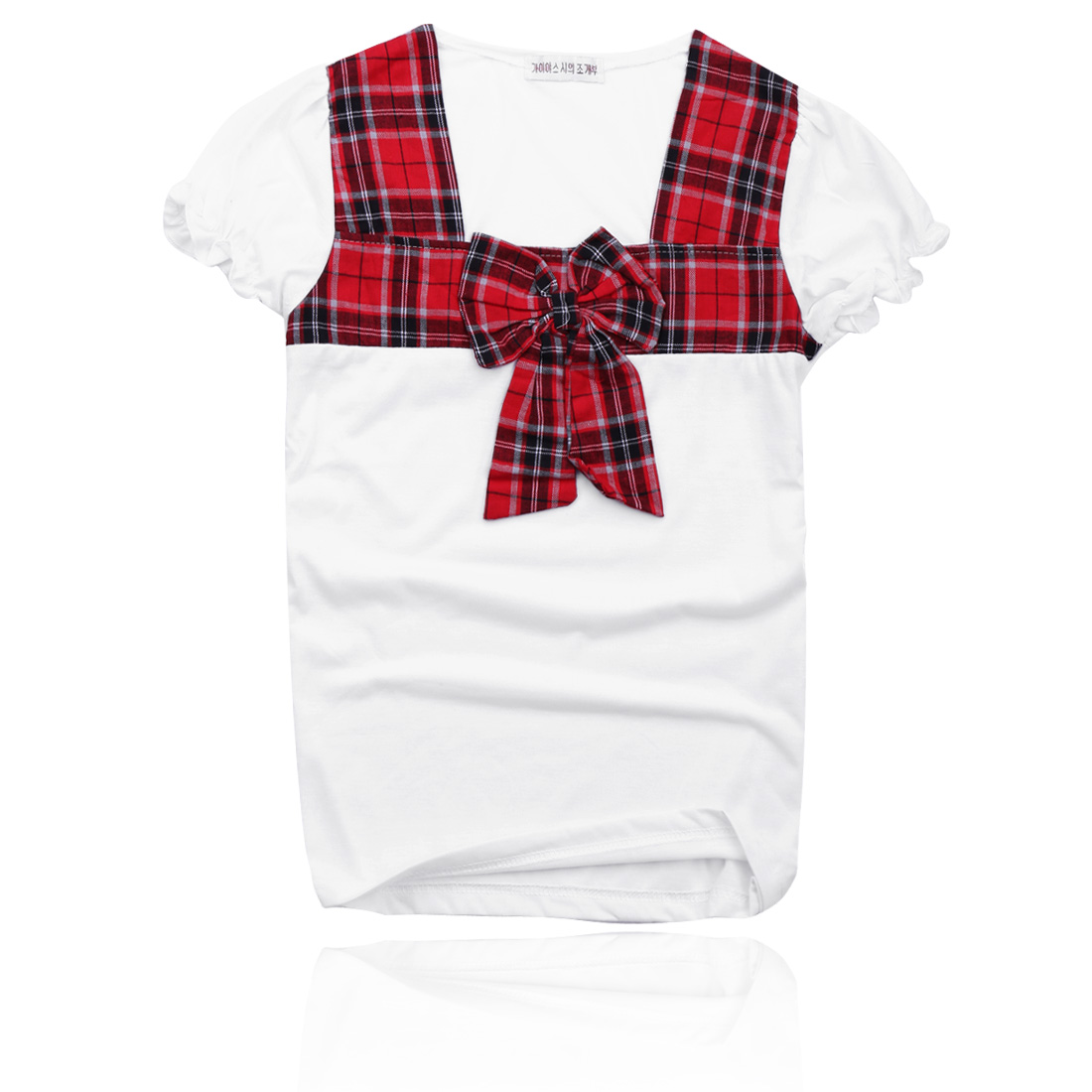 Lady Red England Checker Pattern Square Neck Short Sleeve T-Shirts XS