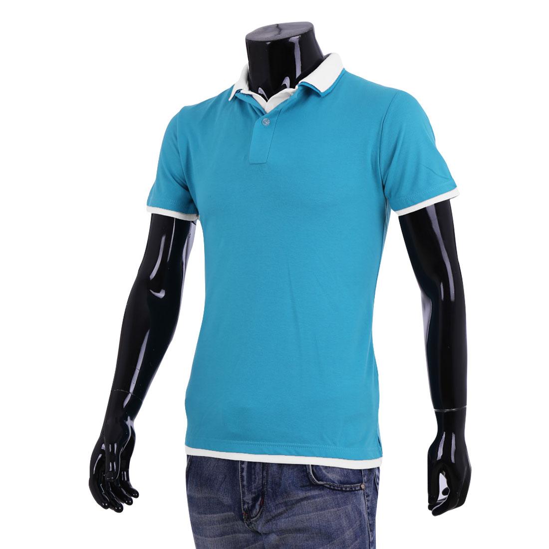 Men Cyan White Point Collar Button Closure Short Sleeves Polo Shirt XXL