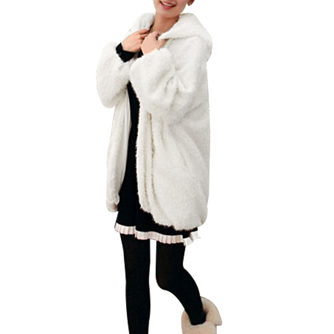 Lady Long Sleeve Hooded White Winter Plush Coat XS