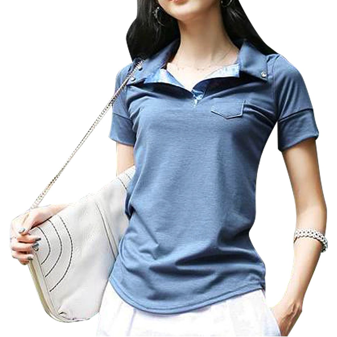 Women Plastic Crystal Buttons Detail Point Collar Polo Shirt Blue XS