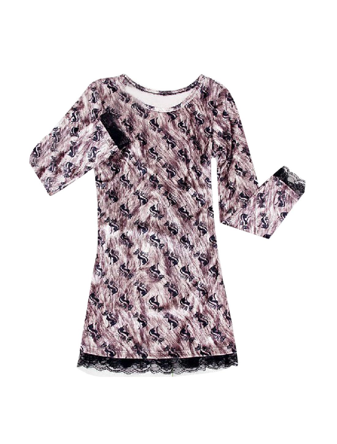 Women Black Fox Pattern Round Neck Dark Purple Velvet Shirt XS