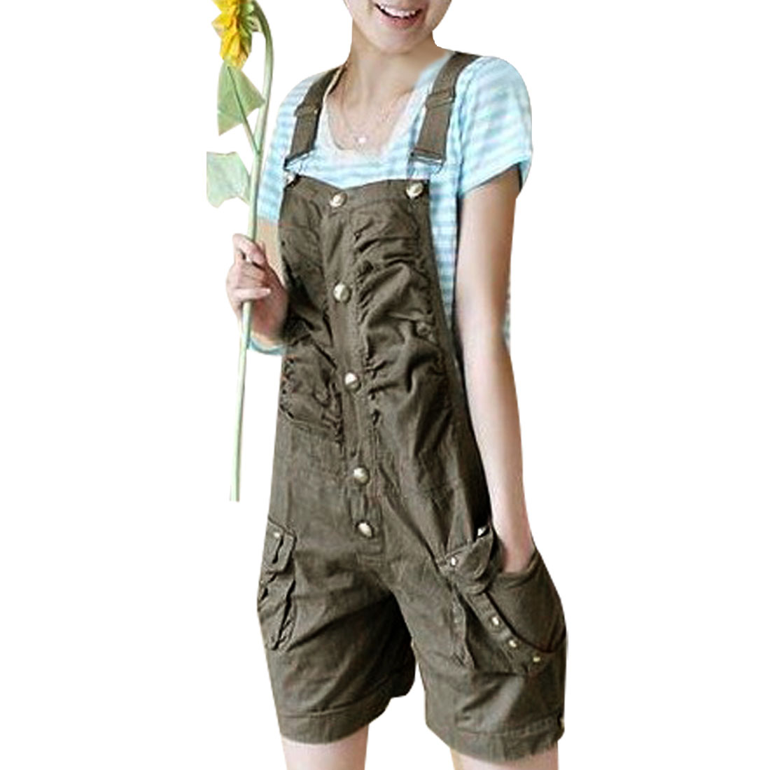 Summer Side Button Closure Adjustable Suspender Pants Khaki XS for Woman
