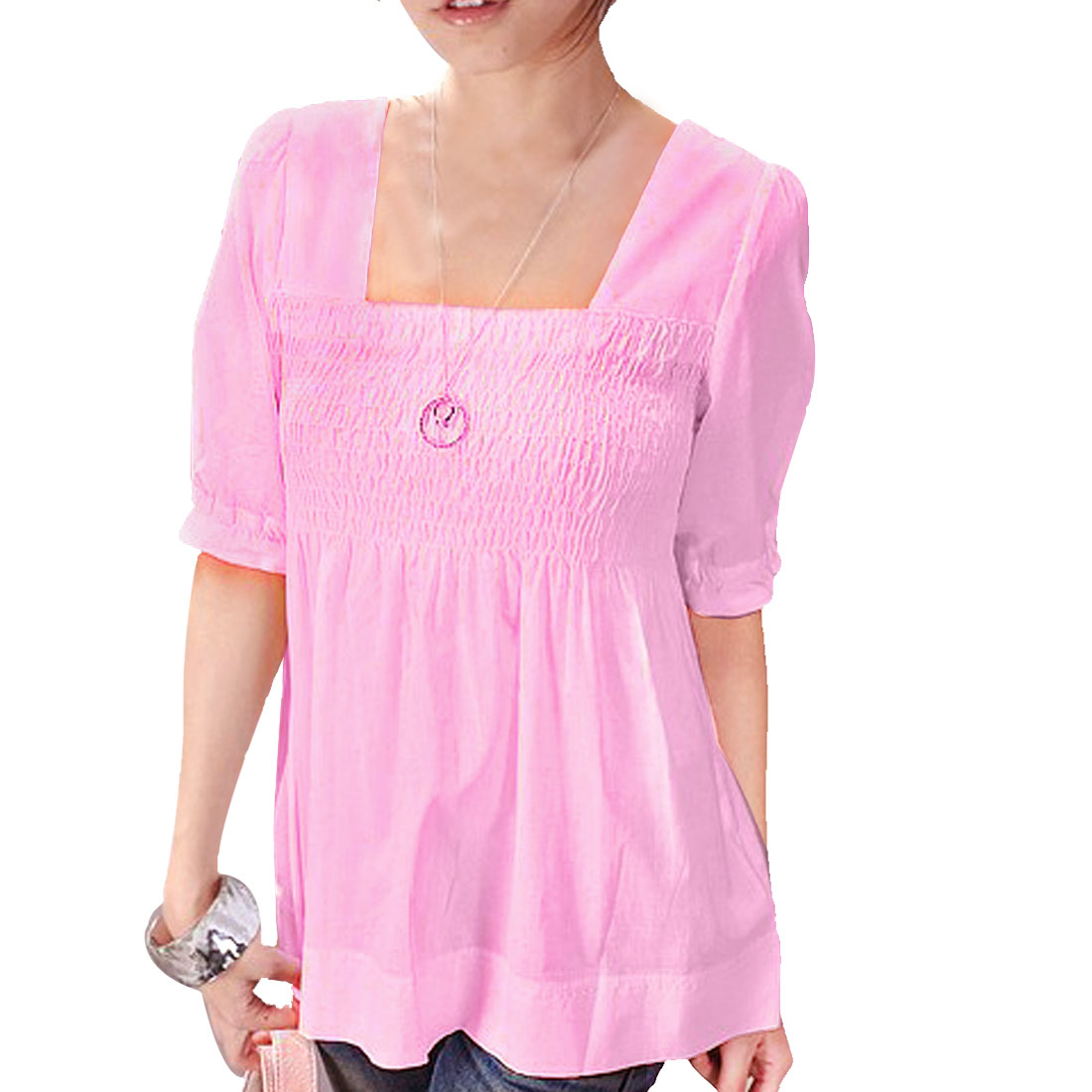 XS Square Neck Short Sleeve Elastic Cuff Princess Blouse Pink for Ladies