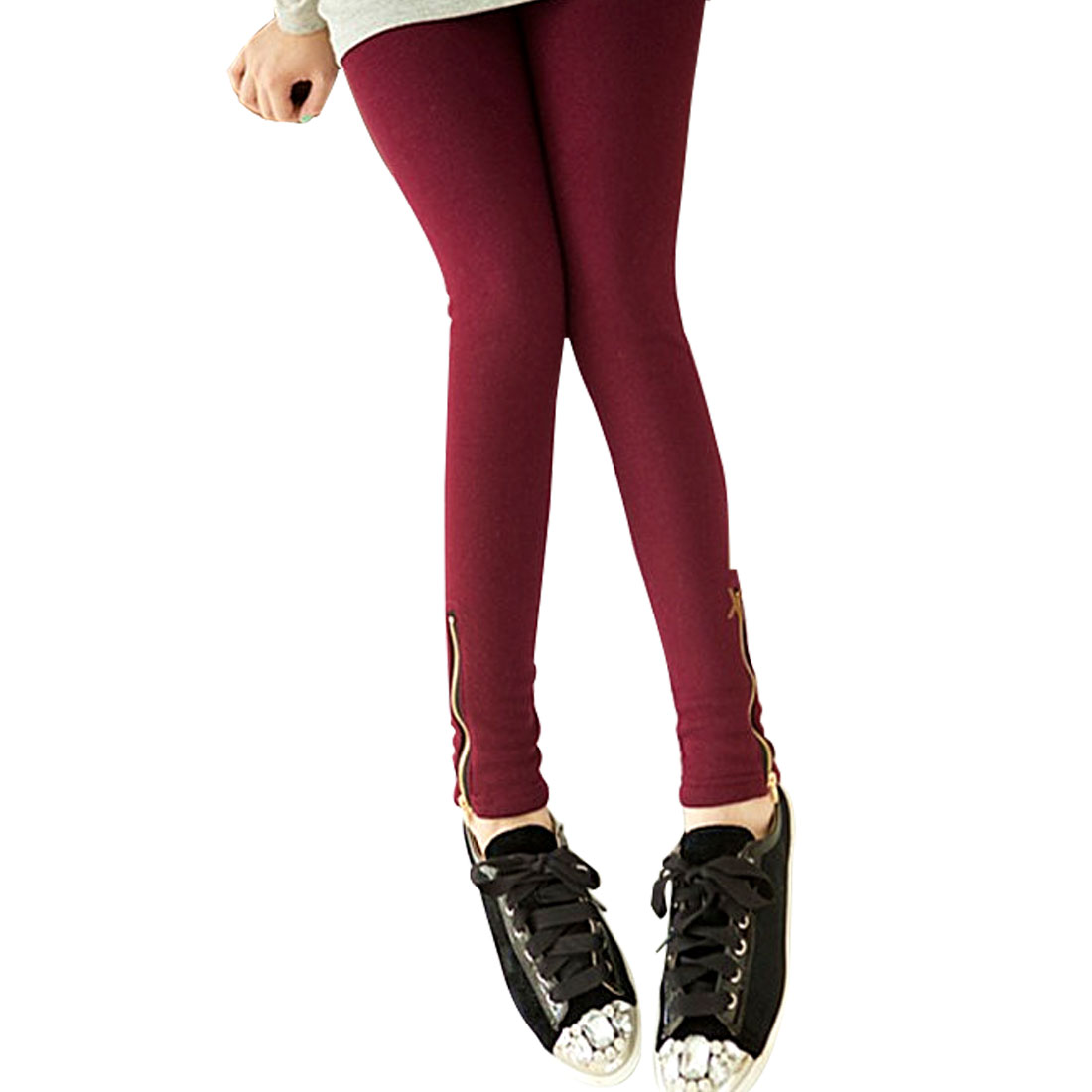 Woman Red Ankle Length Stretchy Slim Leggings Tights XS