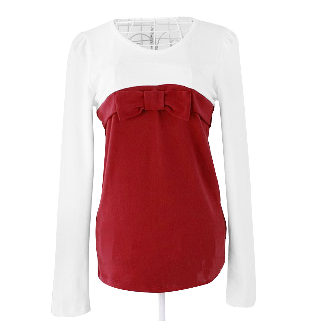 XS Round Neck Long Sleeves Pullover Casual Shirt White Red for Lady