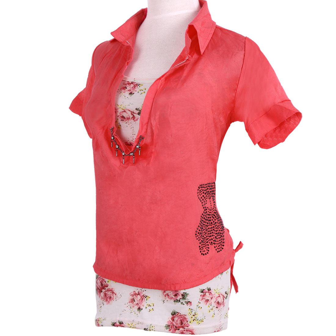 Woman Flowers Pattern Tank Top + Shawl Collar Blouse Watermelon Red XS