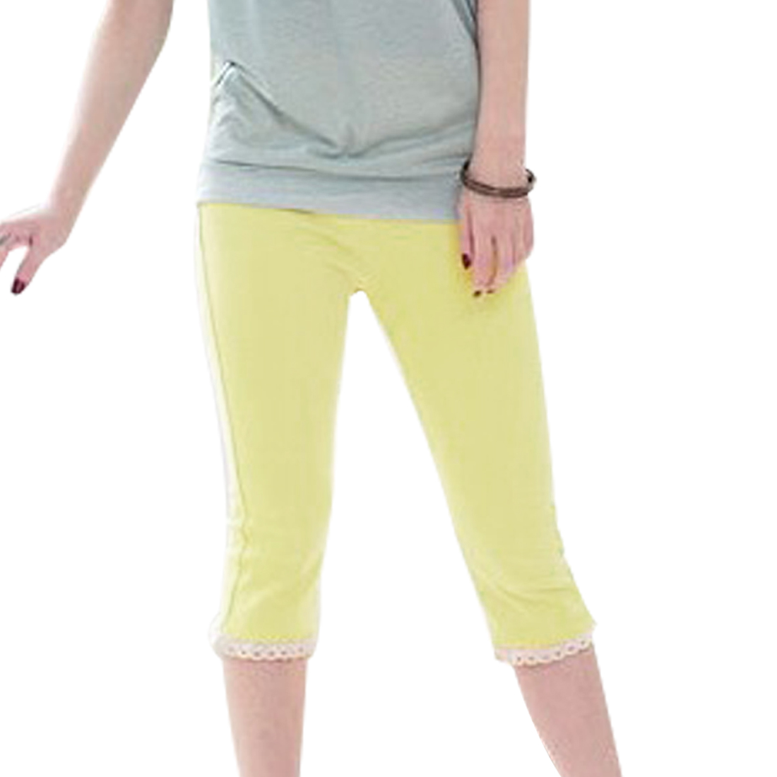 Stretchy Waist Tight Ribbings Leisure Cropped Leggings Yellow XS for Women