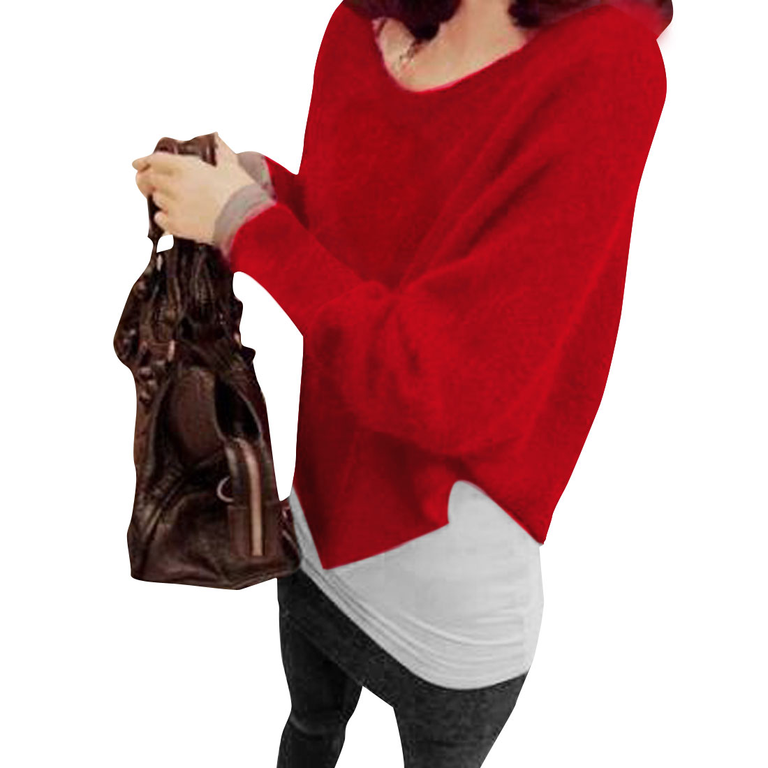 Woman Leisure Sweet Style Single Breasted Mohair Sweater Red XS