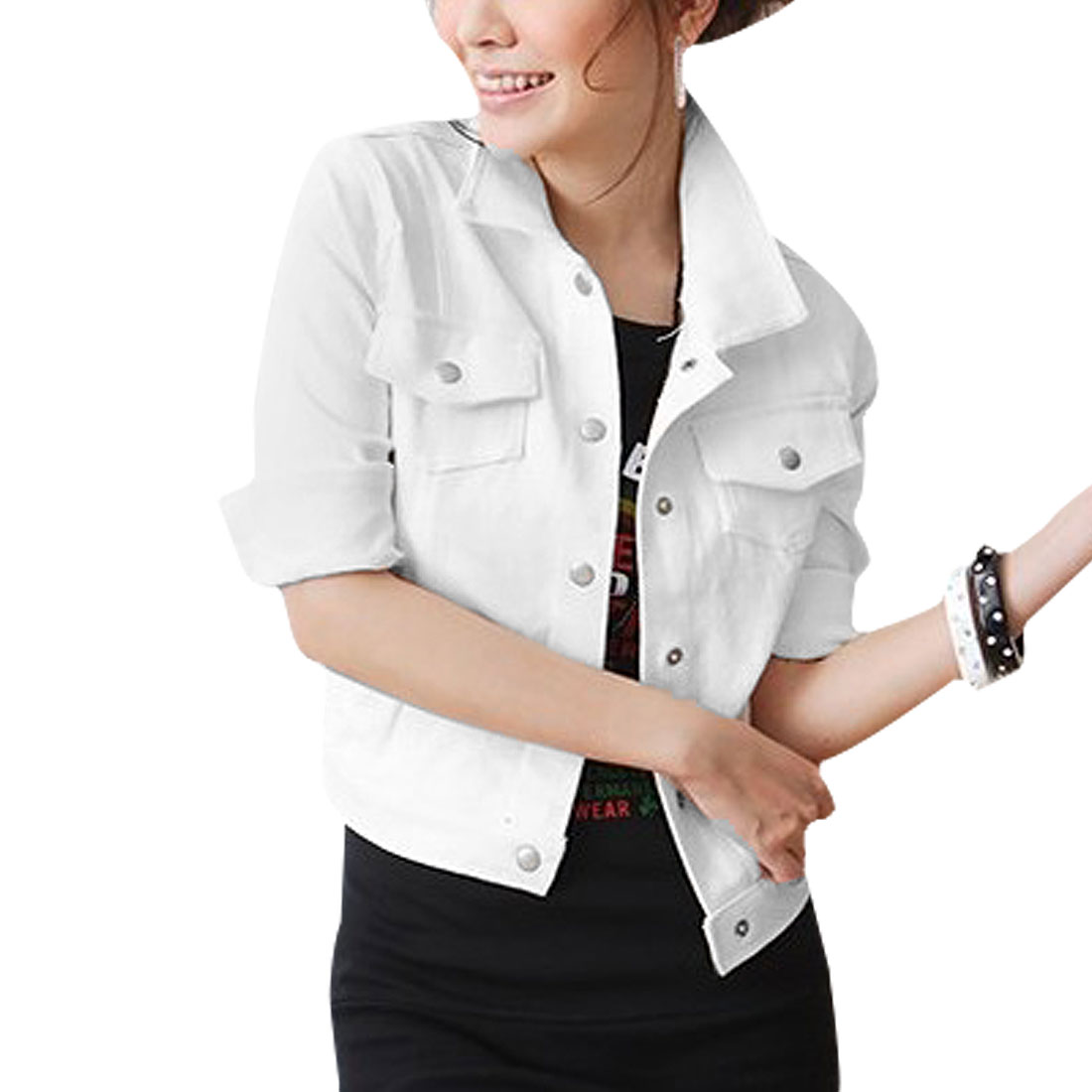 Women Solid White Point Collar Press Button Fashion Short Jacket S