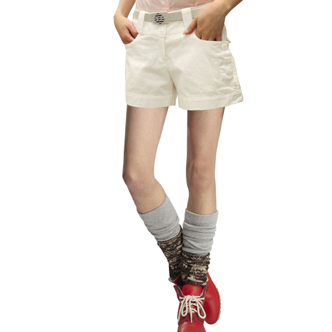 Lady White Elastic Waist Zip Botton Closure Mini Shorts M