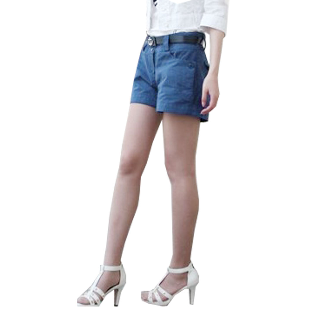 Lady Blue Belt Loop Elastic Waist Botton Closure Mini Shorts M