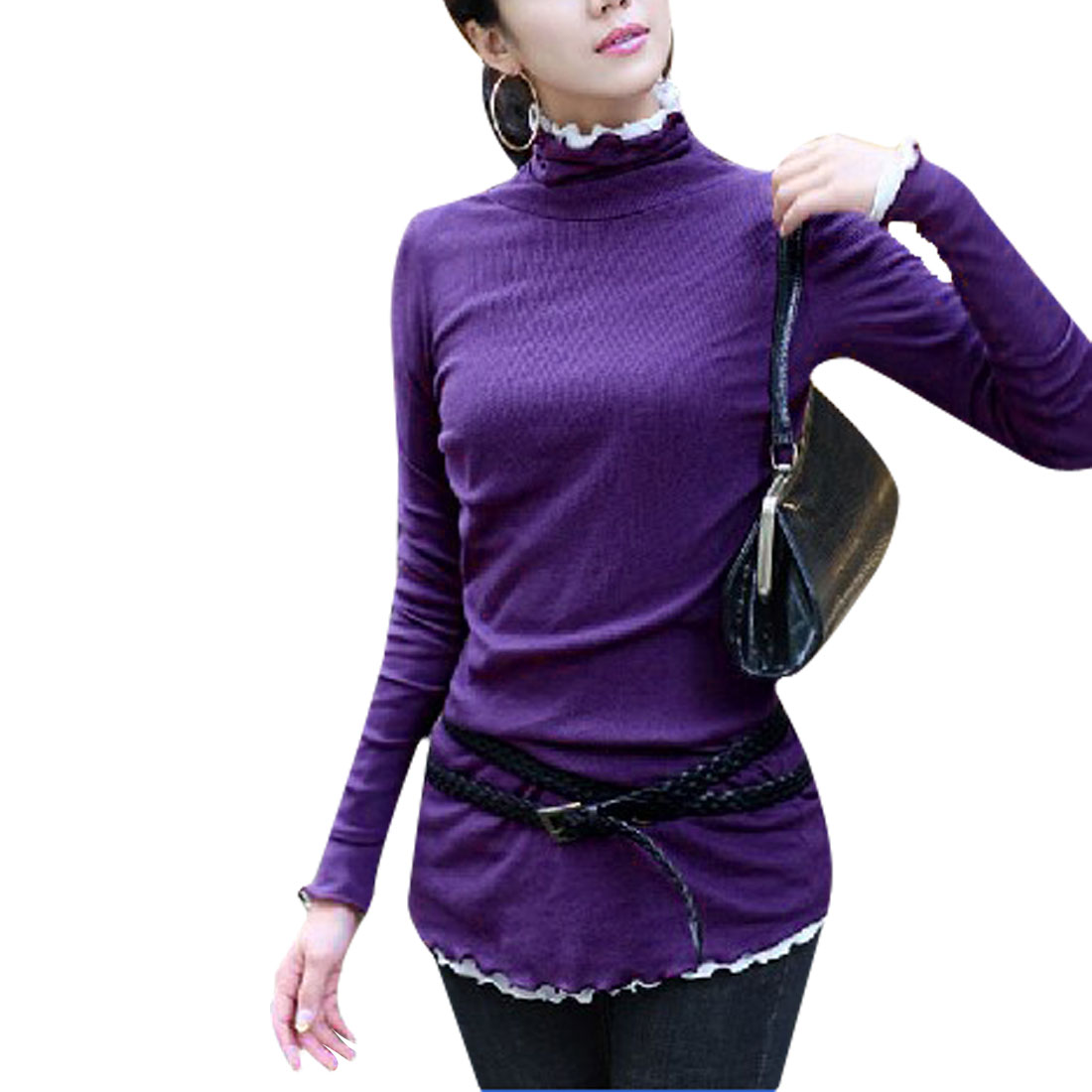 Woman Turtle Neck Long Sleeves Fake Two Piece Shirt Purple White XS