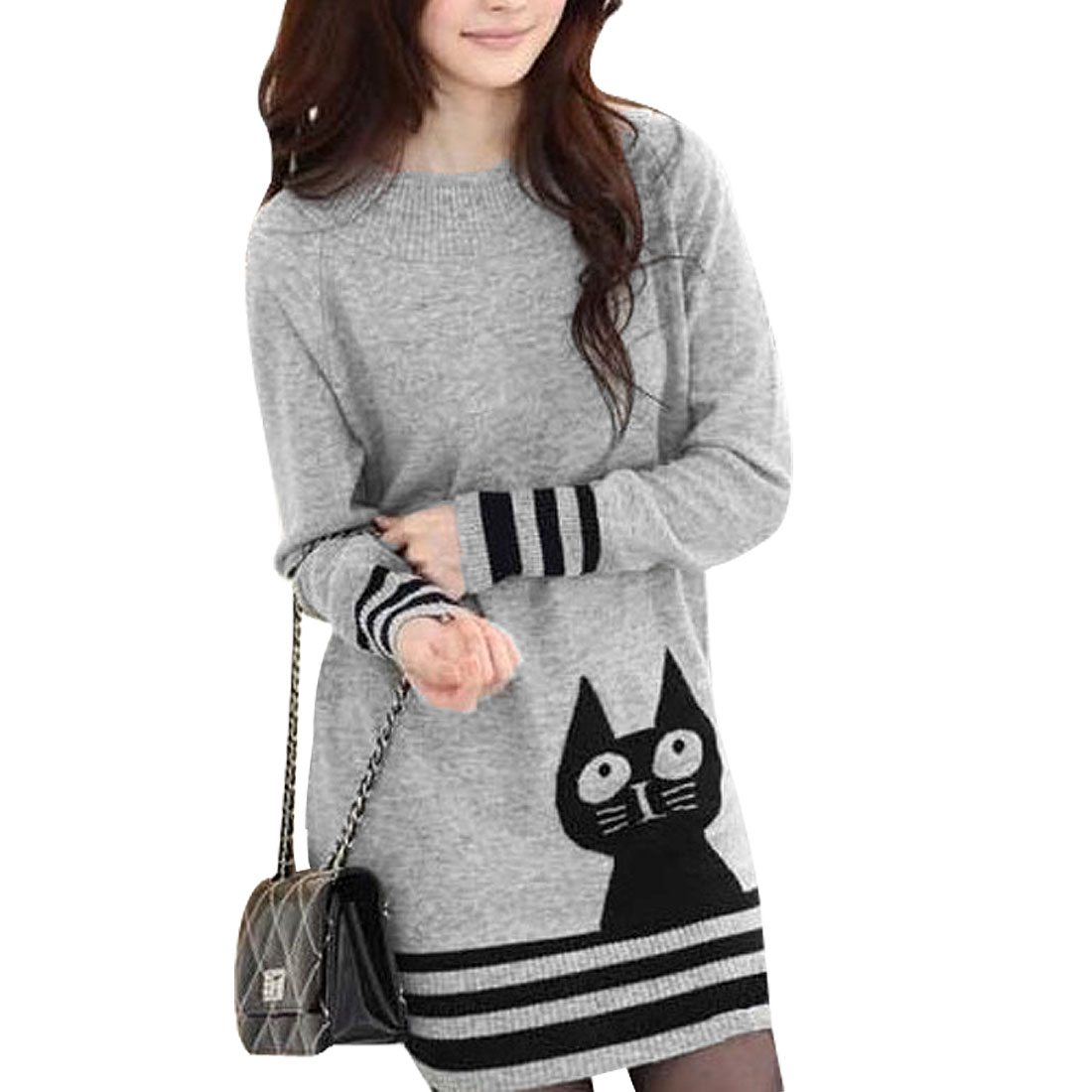 Ladies Light Gray Long Raglan Sleeve Knitted Tunic Sweater XS