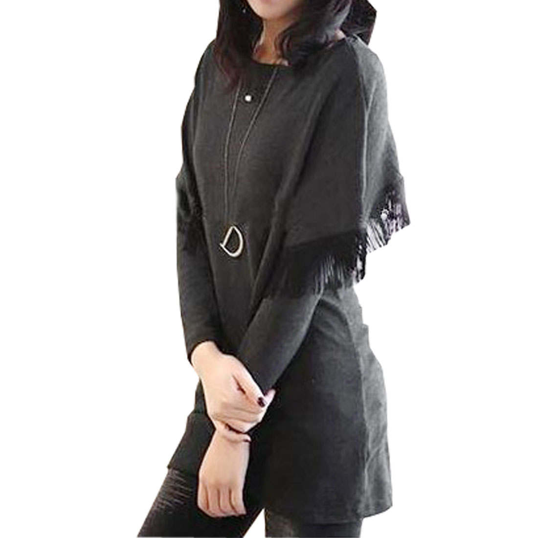 Woman Black Round Neck Long Sleeve Fake Two-Piece Blouses XS