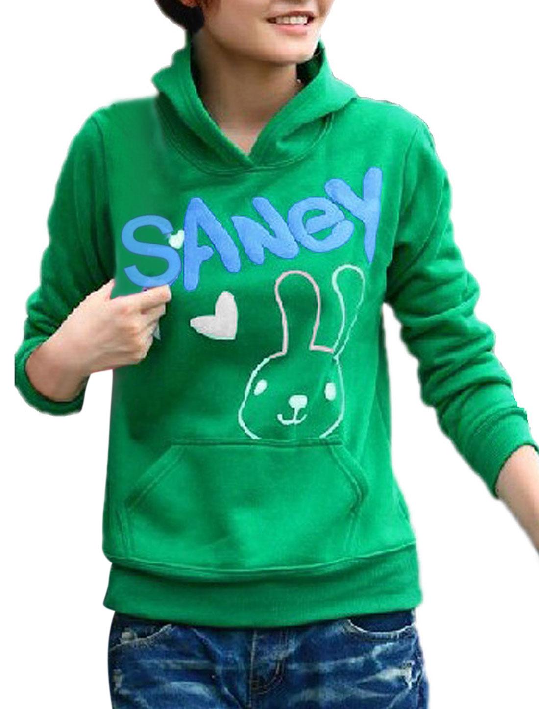 Lady White Rabbit Pattern Green Long Sleeves Fleece Sweatshirt XS