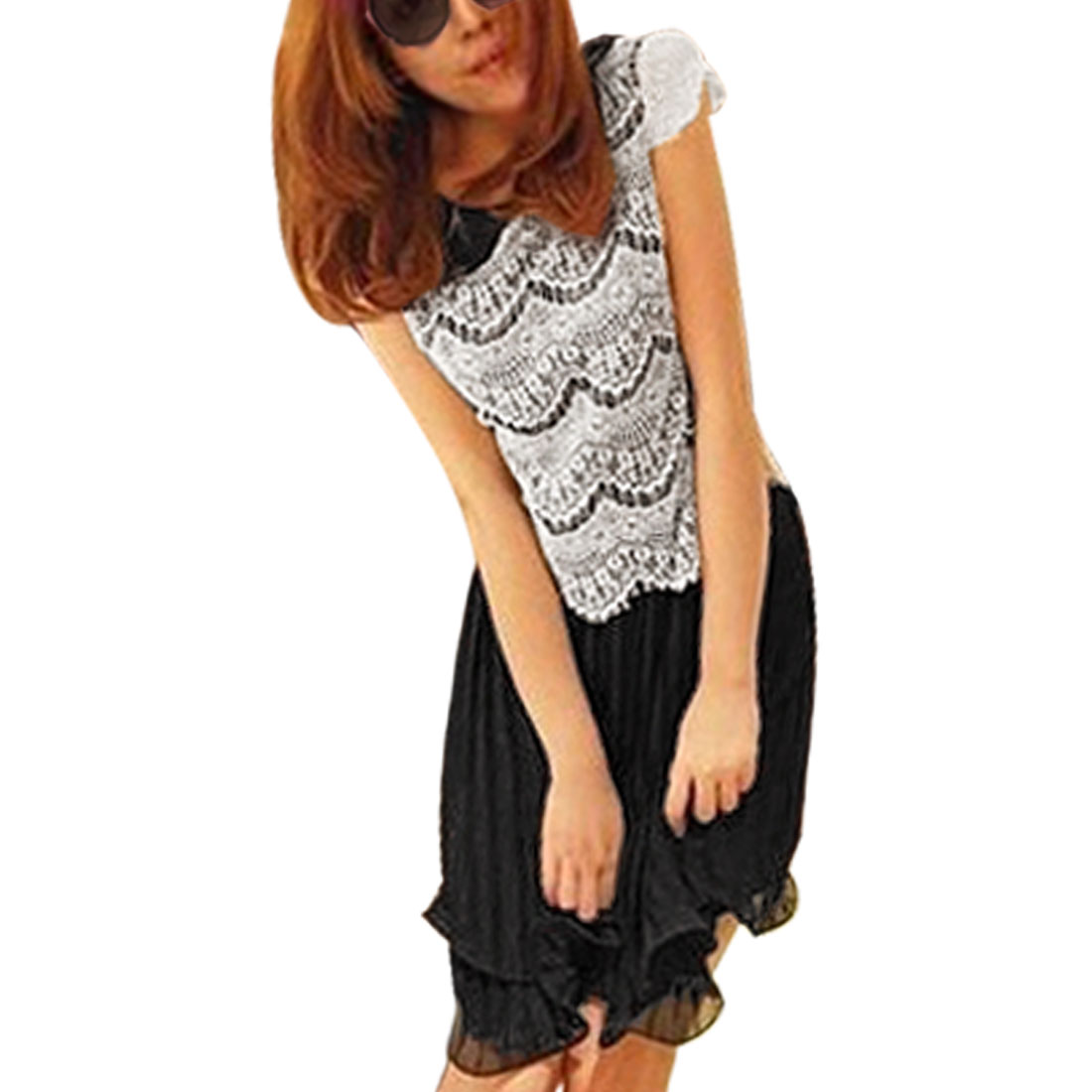 White Flowers Print Lace Ovrelay Chiffon Accordion Dress Black XS for Woman