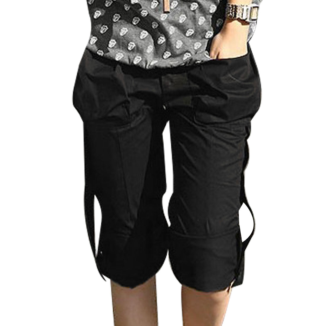 Ladies Black Two Pocket Button Decor Zip Up Casual Short Pants XS