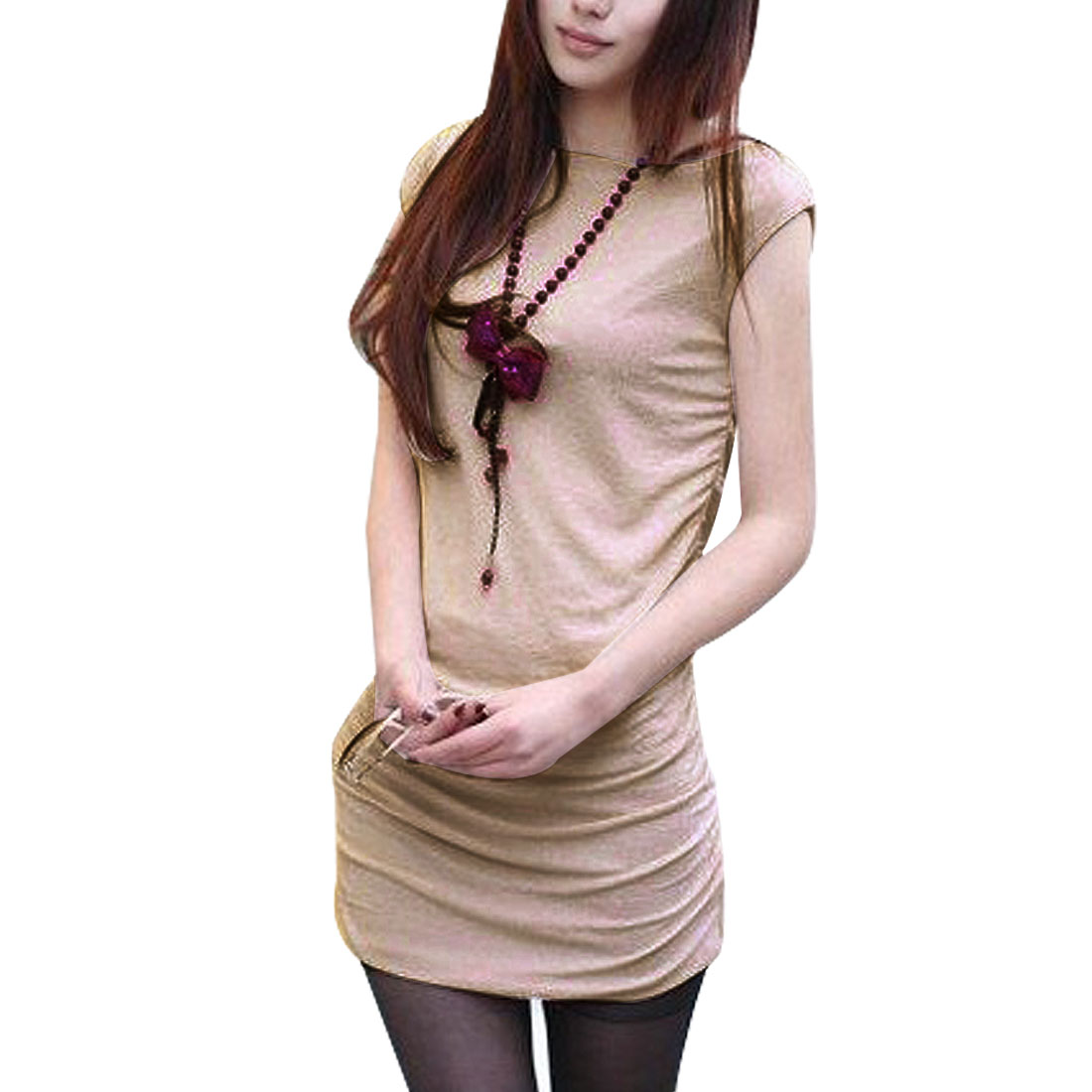 Women Sleeveless Boat Neck Summer Mini Hip Dress Light Apricot XS