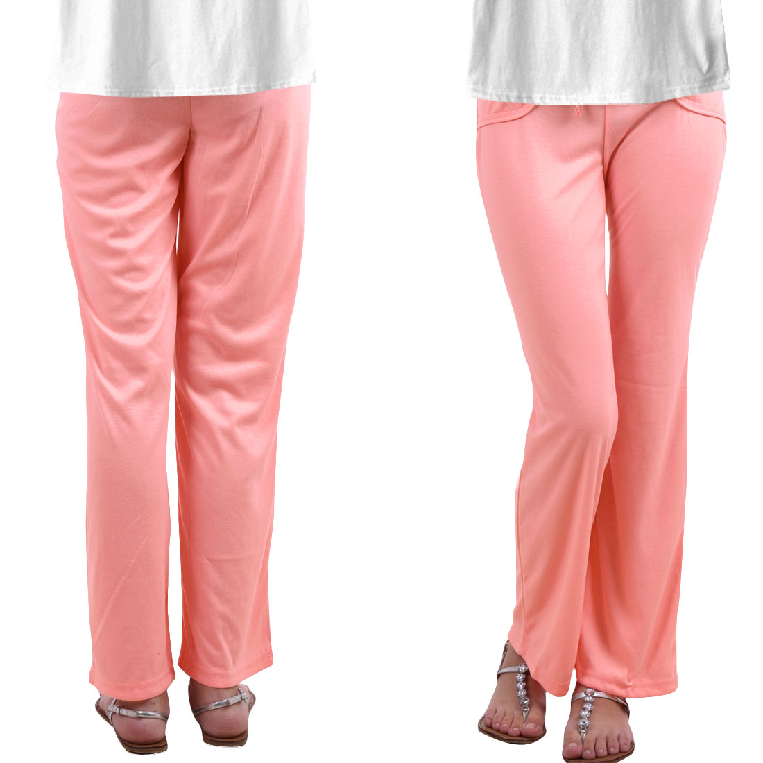 Ladies Yoga Running Exercise Elastic Band Leisure Pants Pink XS