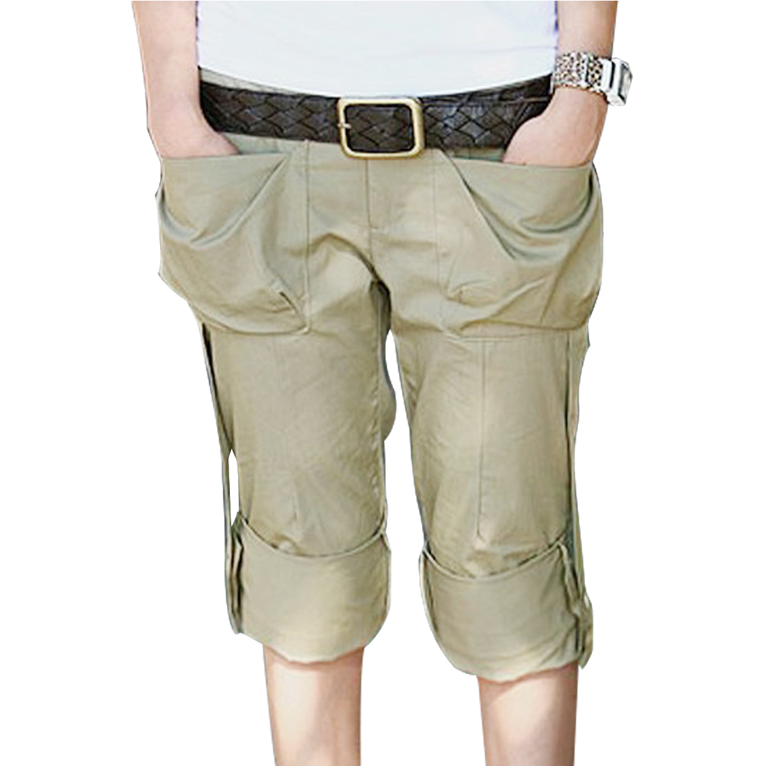 Woman Elastic Waist Zippered Patch Pocket Short Trousers Khaki XS