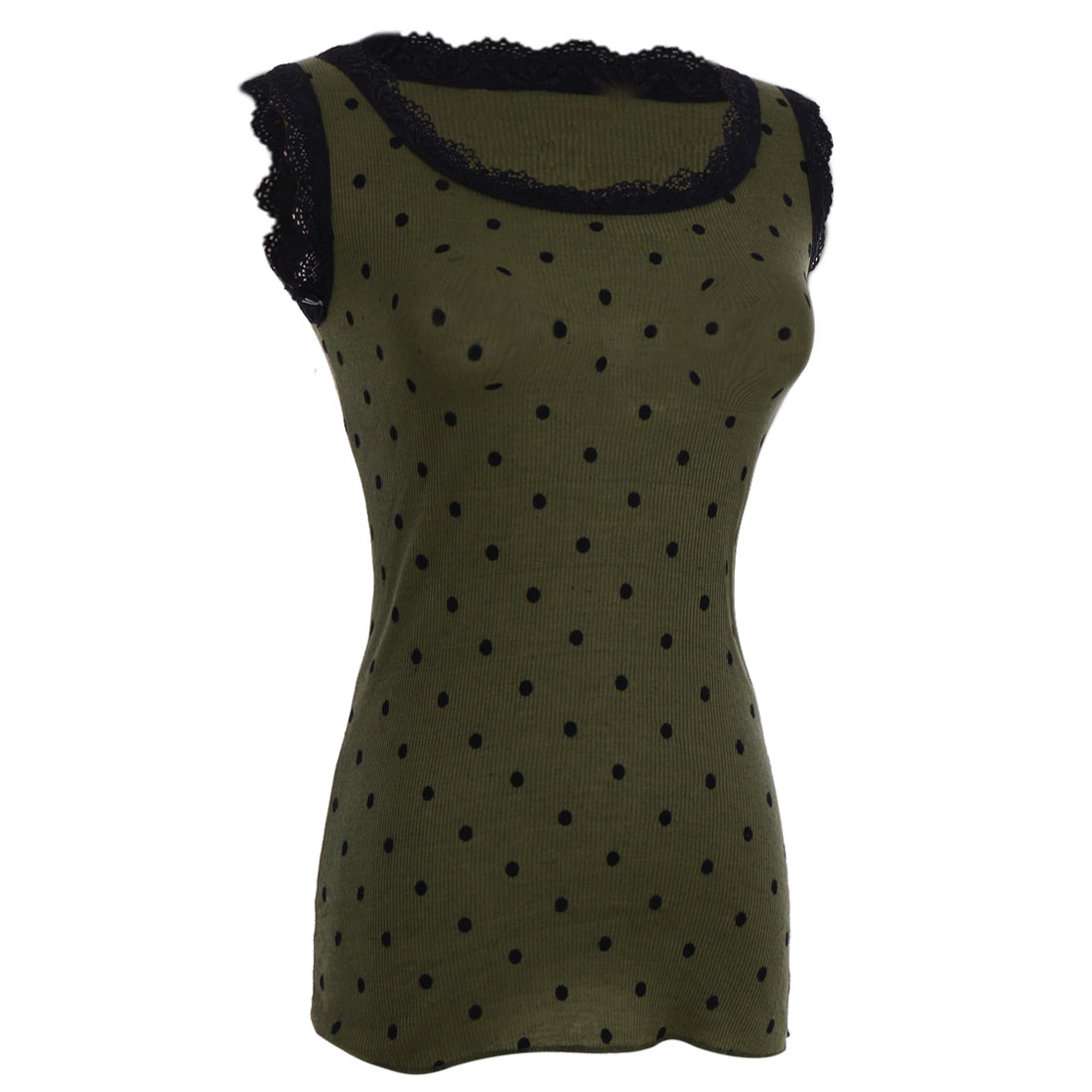 Sleeveless Army Green Dotty Print Slim Elastic Lace Tank Top for Lady XS