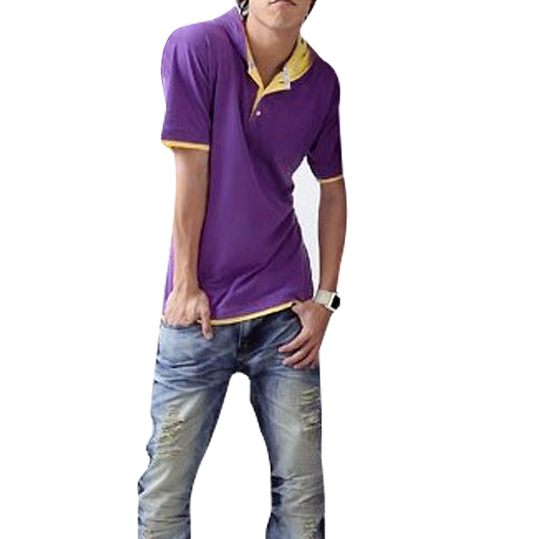 Fake 2 Piece Button Closure Hooded Shirt Blouse Yellow Purple S for Men