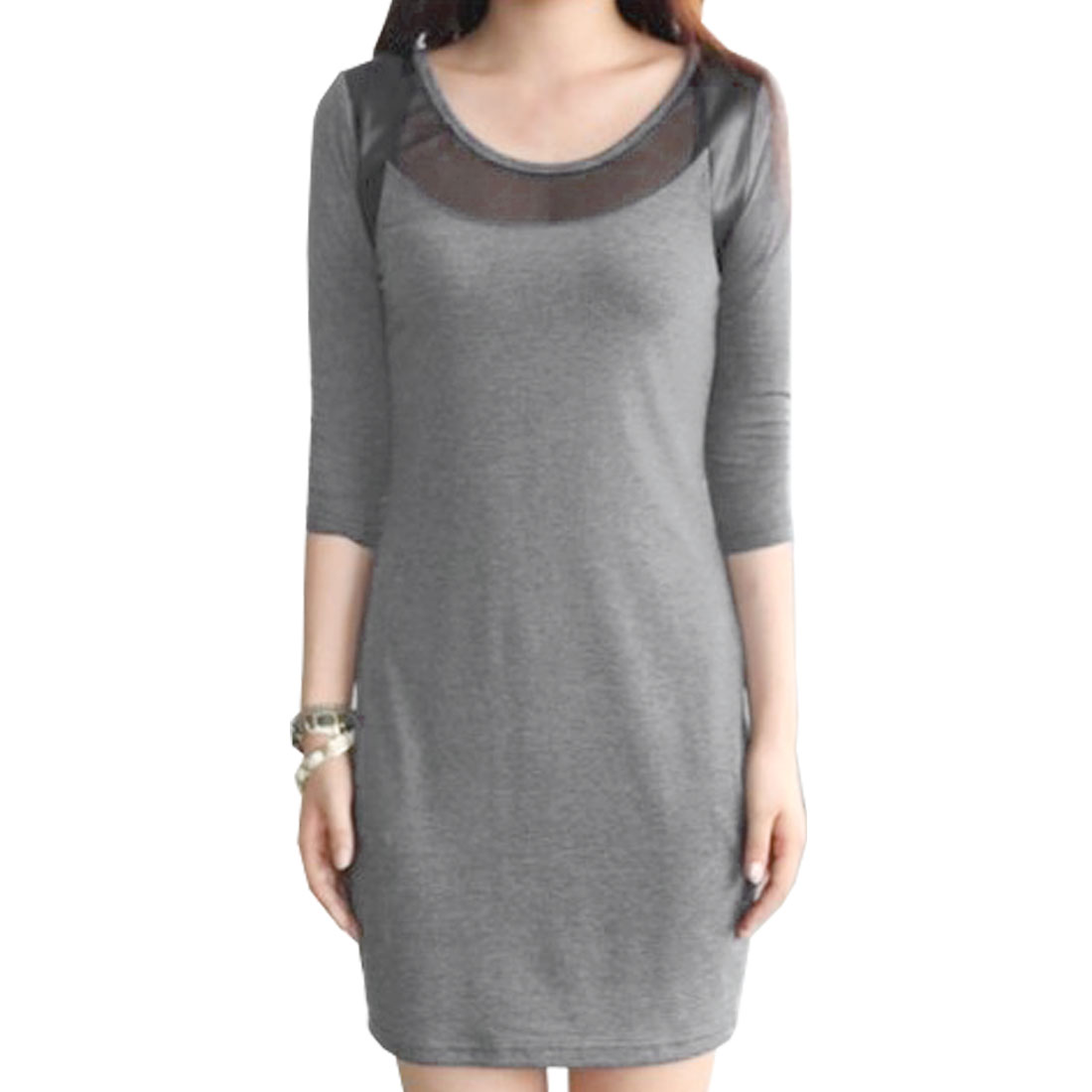 Ladies Gauze Splicing Round Neck Closefitting Dress Gray XS