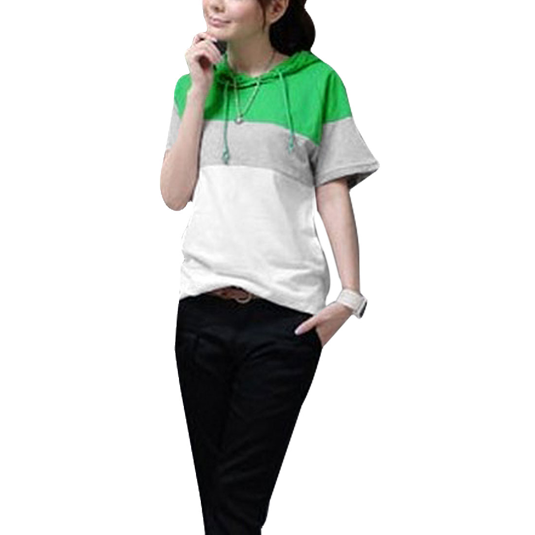 Woman Green White Gray Short Sleeves Hooded Shirt S