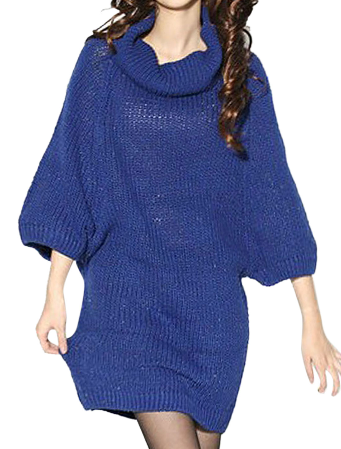 Women Sapphire Blue Turtle Neck Fahion Rib Pattern Batwing Sleeve Sweater XS