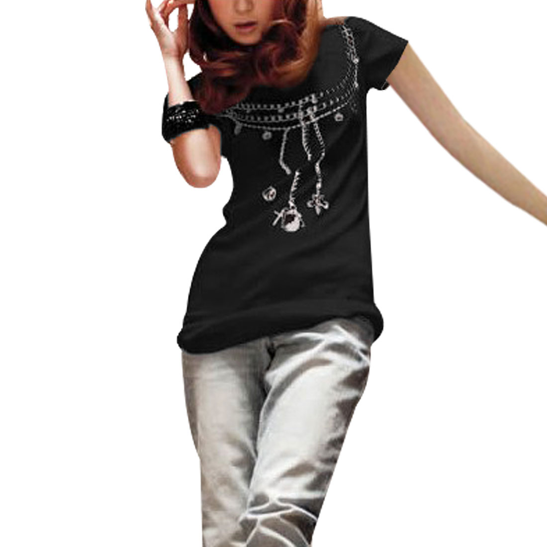 Woman Light Purple Chain Pattern Black Short Sleeves Shirt XS