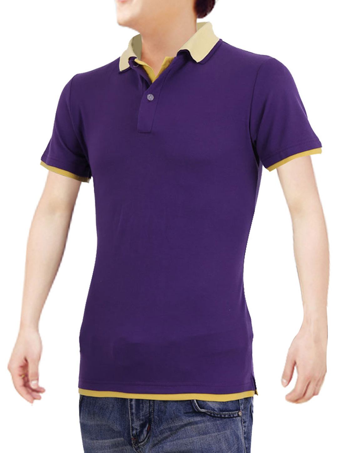 Men Short Sleeves Dark Purple Yellow Double Collar Polo Shirt S