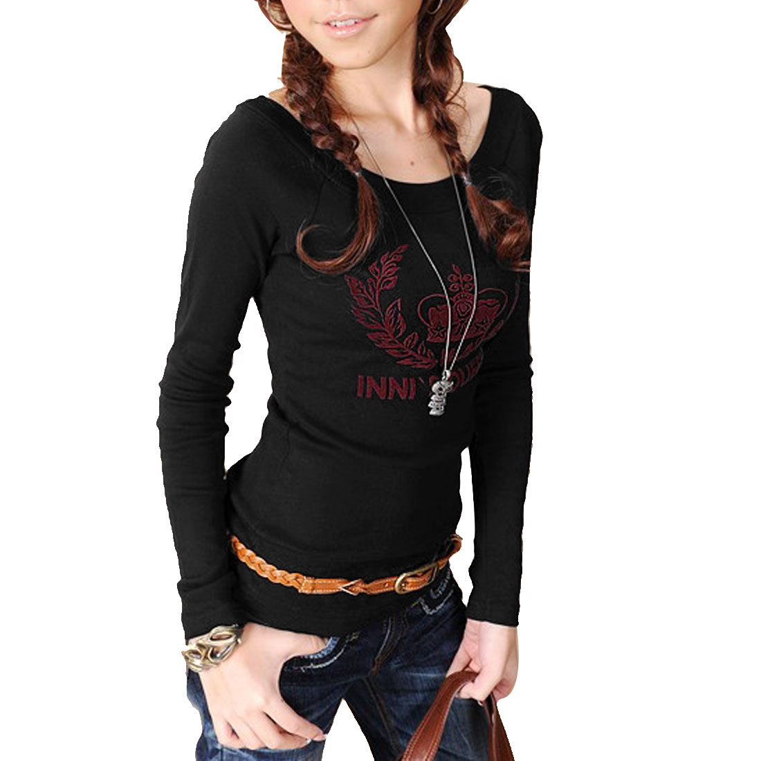 Black Leaf Pattern Boat Neck Long Sleeves Shirt XS for Ladies