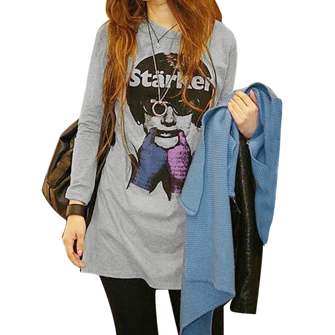 CQ10121710 Woman Round Neck Long Sleeves Gray Black Shirt