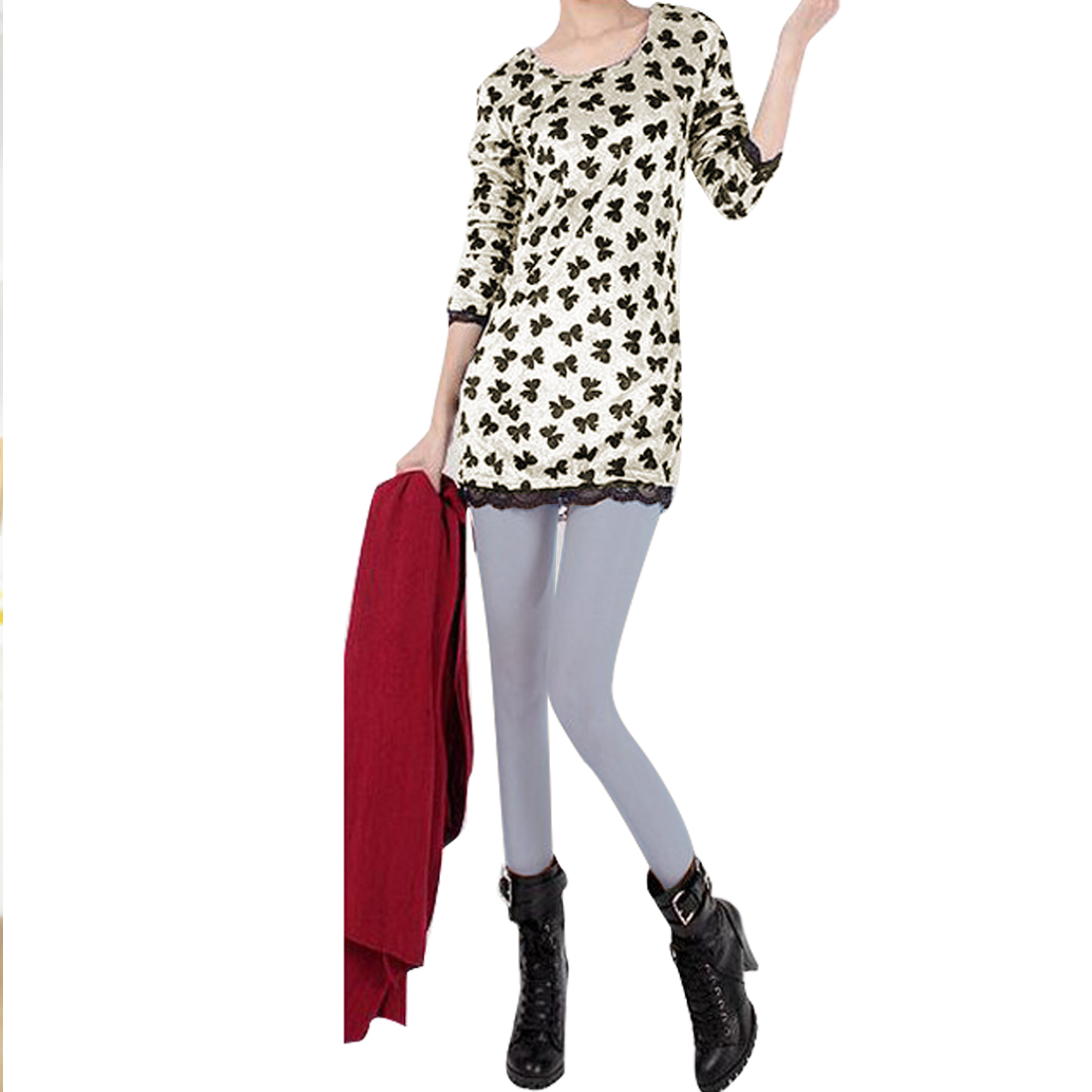 Women Round Neck Black Bowknot Print Closefitting Tunic T-shirt White XS
