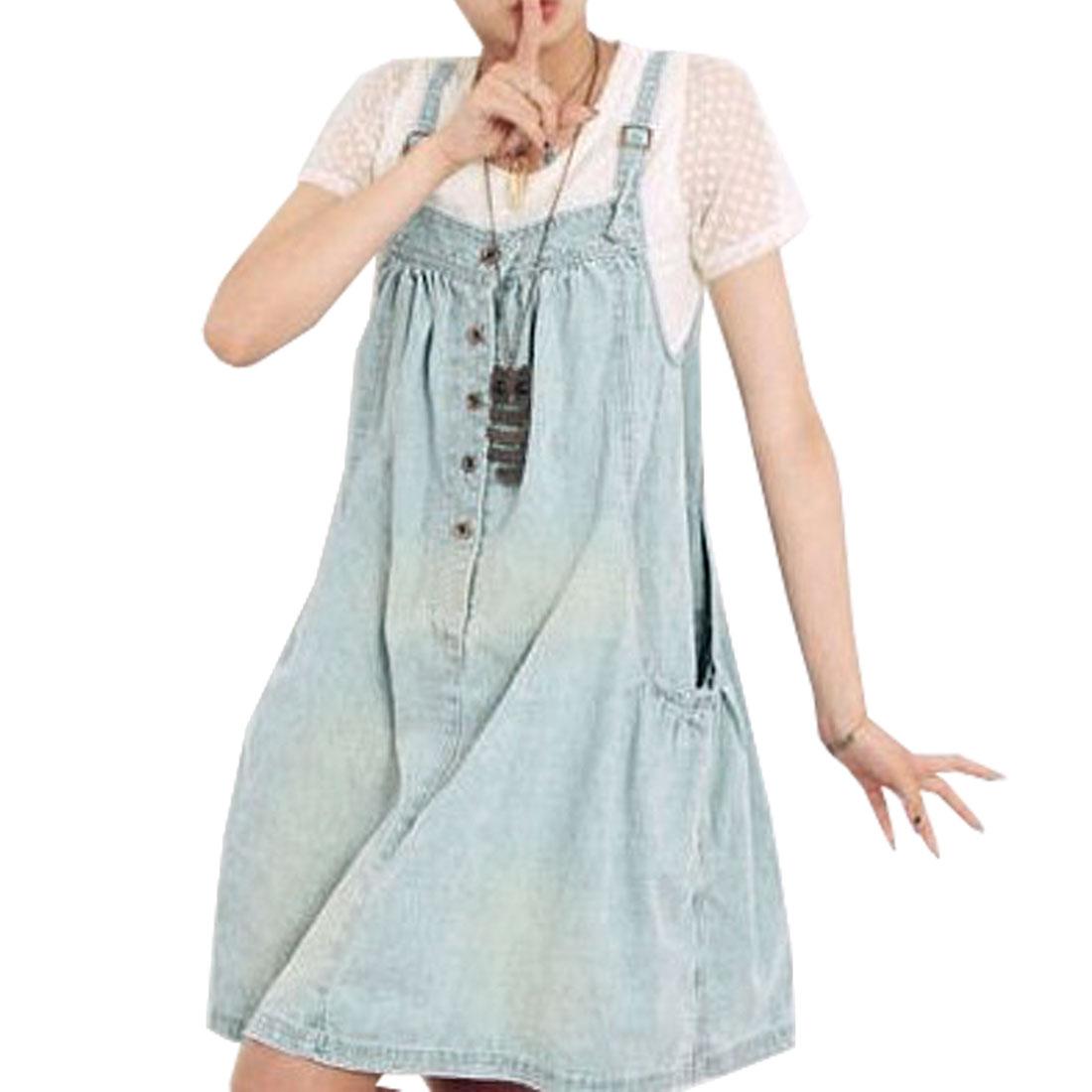 Woman Light Blue Sleeveless Loose Suspender Denim Dress M