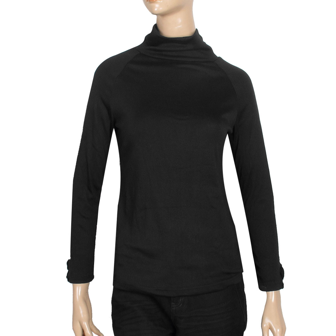 Women Black Turtleneck Raglan Long Sleeve Tops Shirt Clothes XS