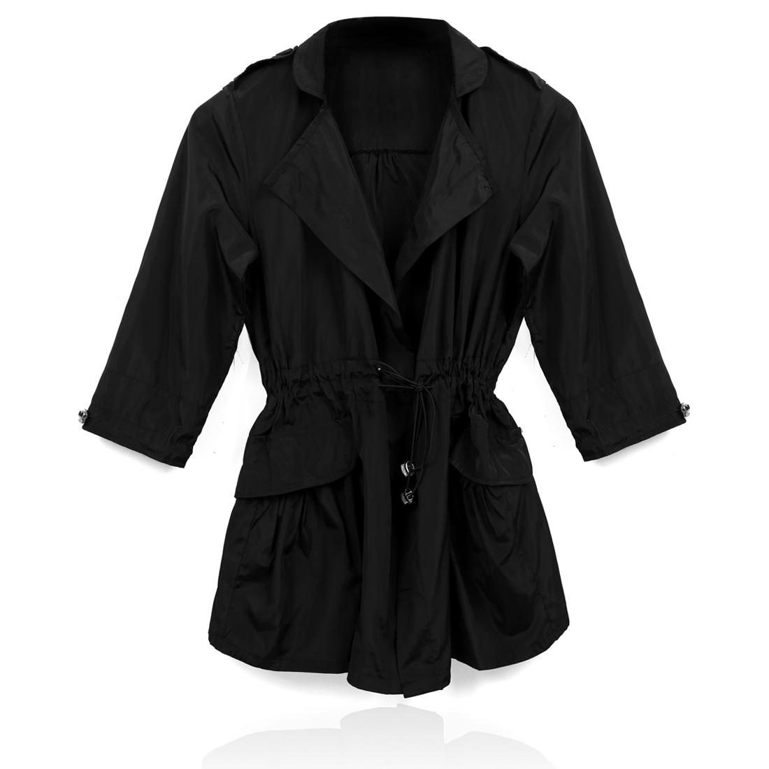 S 3/4 Sleeves Drawstring Waist Side Pocket Trench Coat Windbreaker Black for Ladies