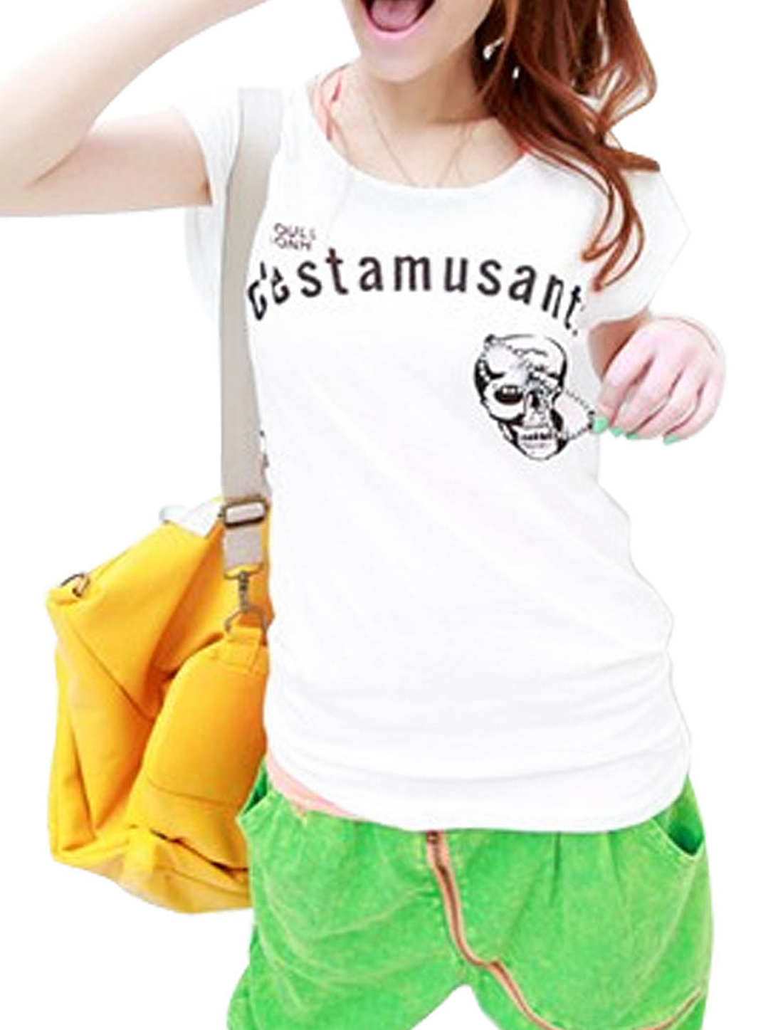 Summer Leisure Round Neck Glasses Detail White XS T-shirt for Women
