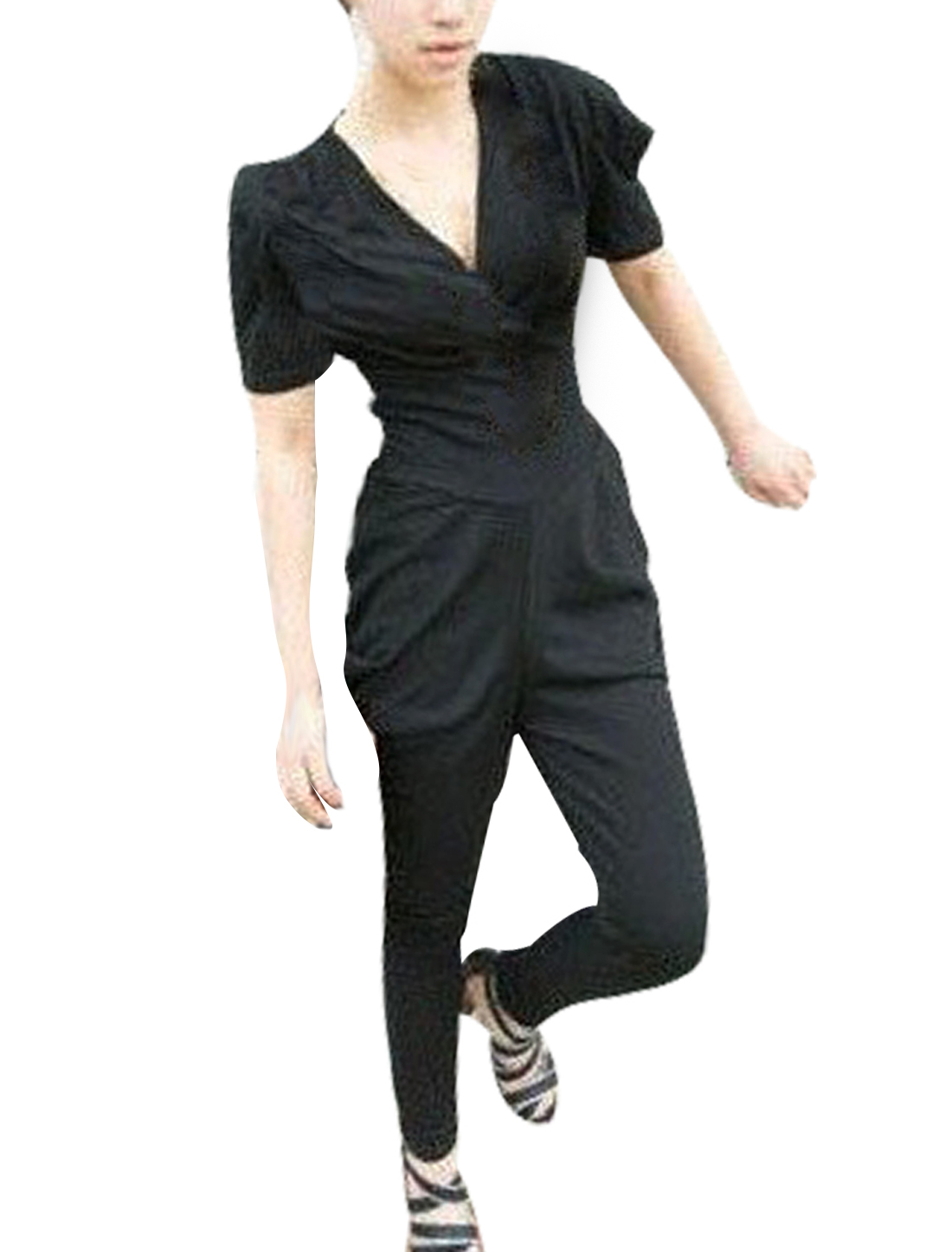 Black V Neck Short Sleeves Pullover Harem Jumpsuit XS for Women