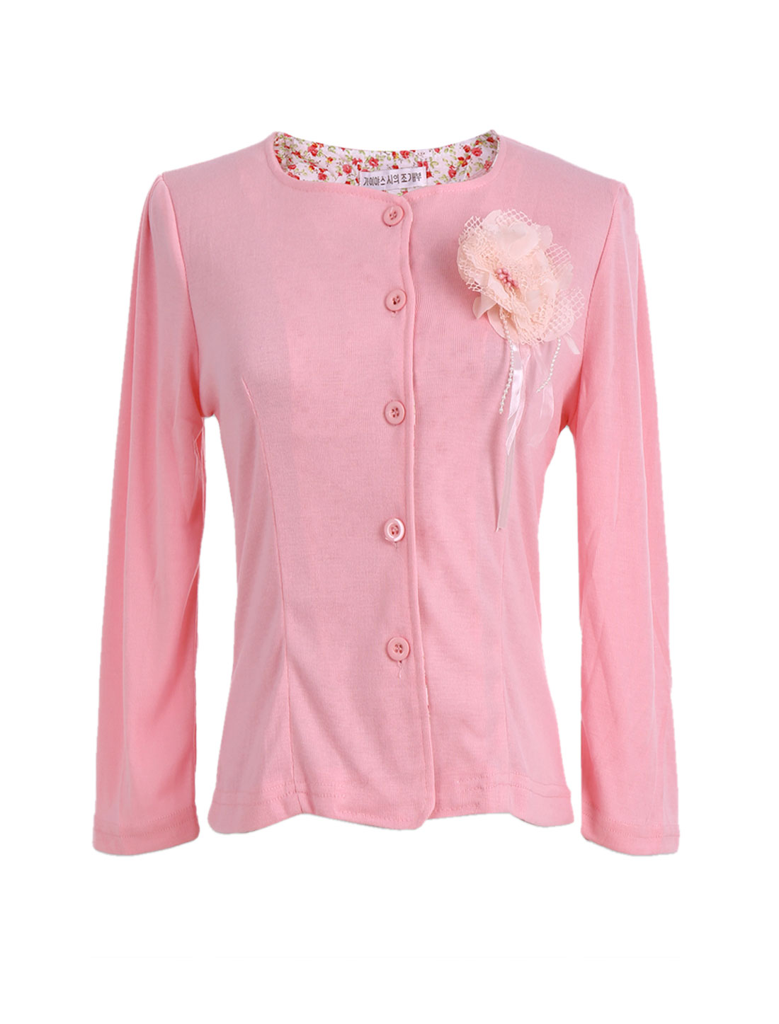 Ladies 3 /4 Sleeves Button Front Open Cardigan Sweater Top Pink XS