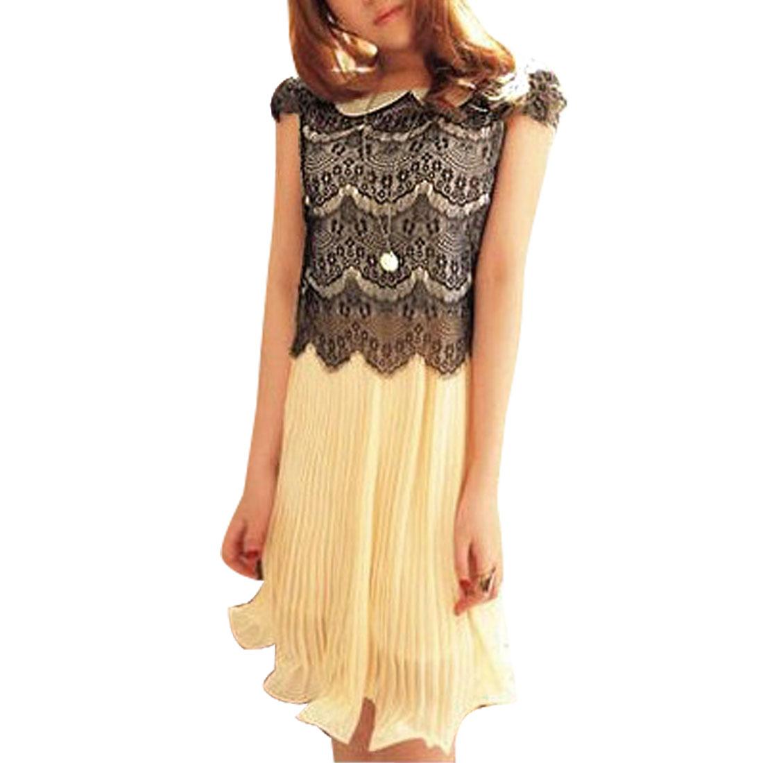 Women Black Laced Flowers Pattern Apricot Ruffled Inner Lining Chiffon Dress XS