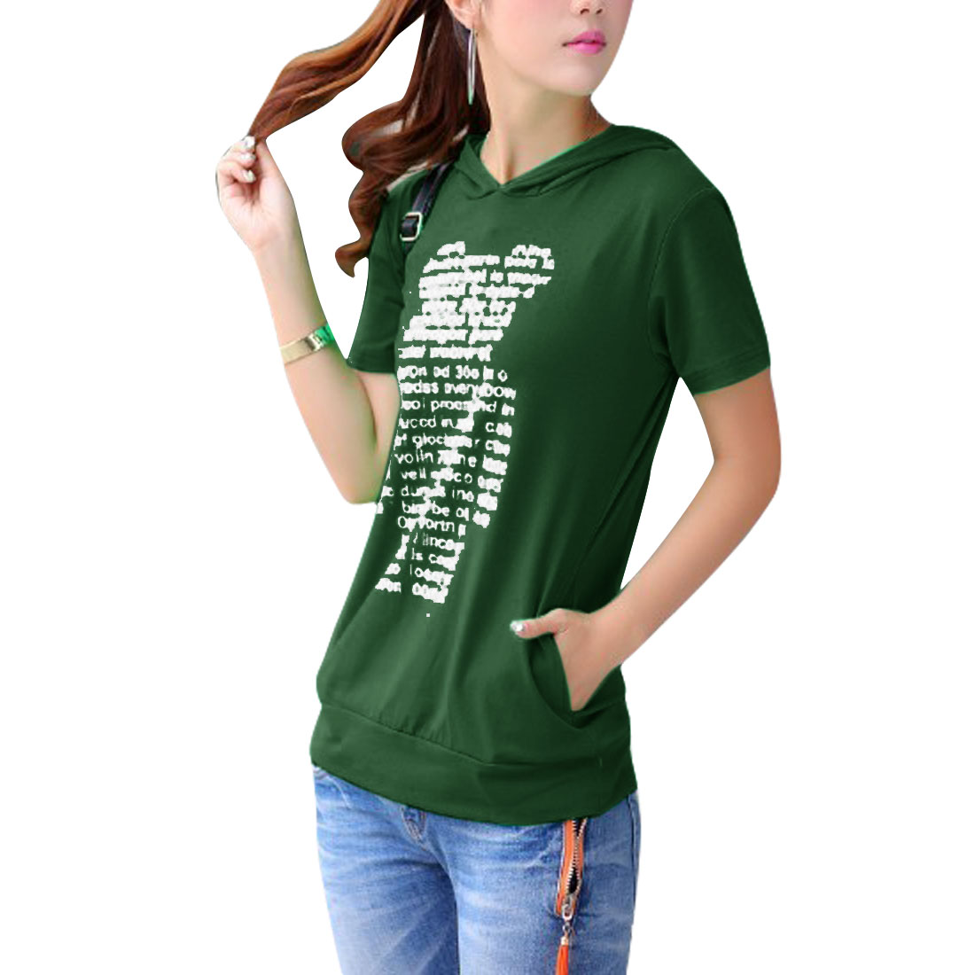 Woman White Letter Short Sleeves Hooded Shirt Dark Green XS