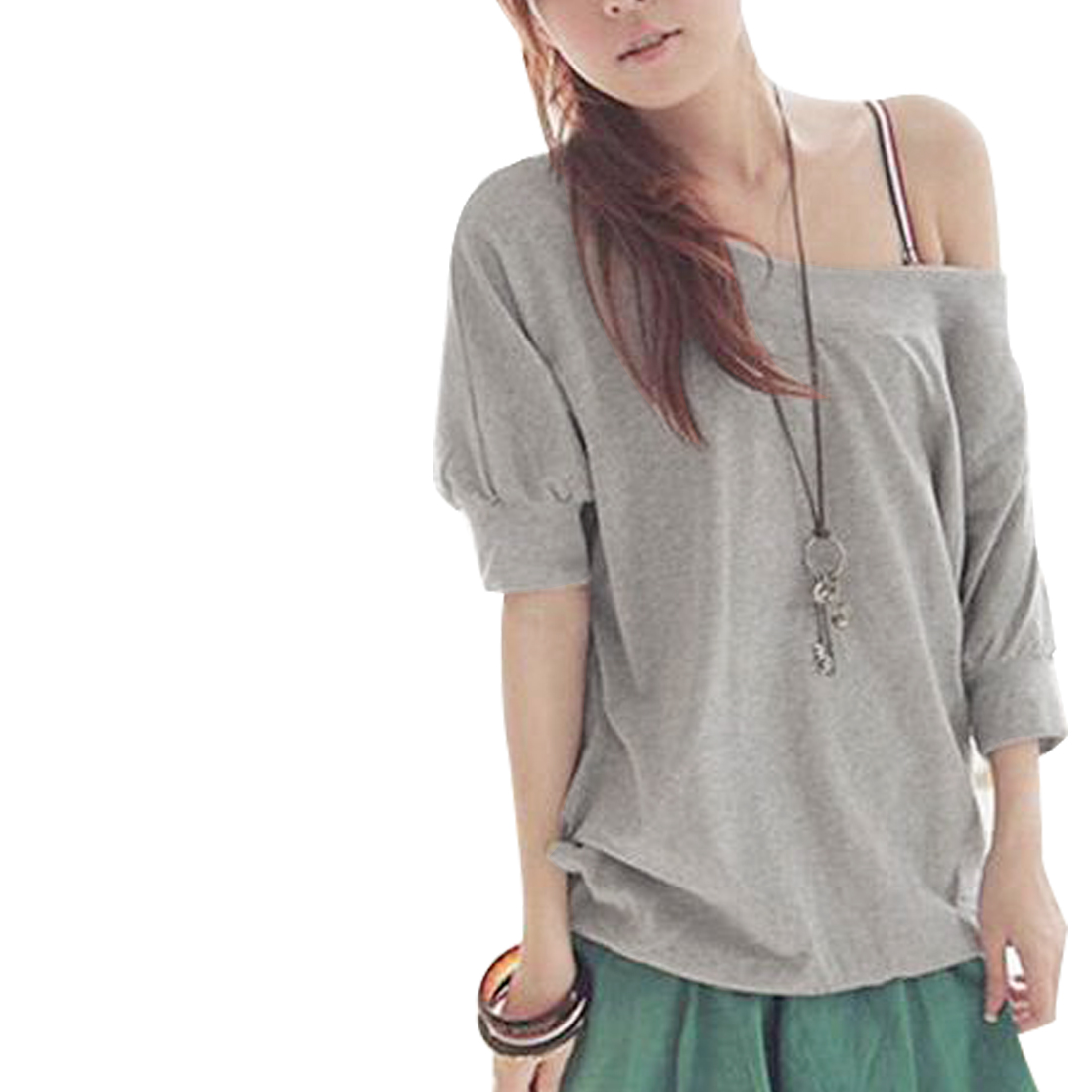 Gray Round Neck Rib Short Sleeve Summer T-Shirt for Women XS