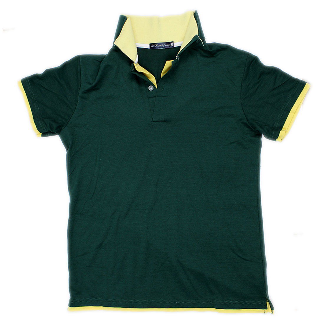 Yellow Green Fake 2 Piece Shirt Top Casual Summer Polo Size S for Man