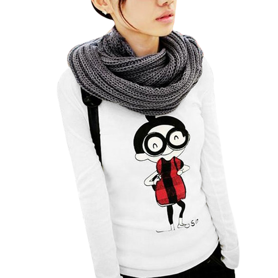 Women Cartoon Human Pattern Round Neck Long Sleeves Shirt XS