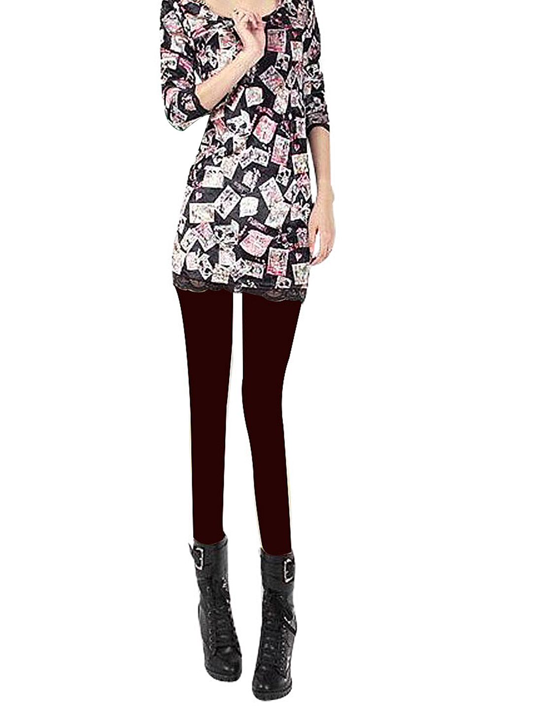 Women Colorful Lady Pattern Long Sleeves Round Neck Black Velvet Shirt XS