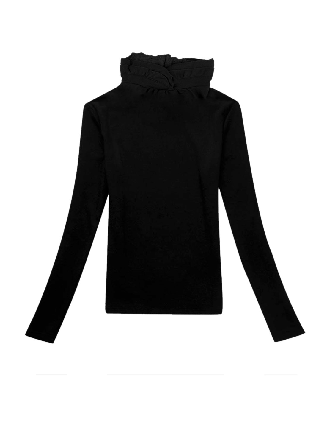 Women Turtleneck Design Long Sleeve Solid Color Stylish Blouse Black S