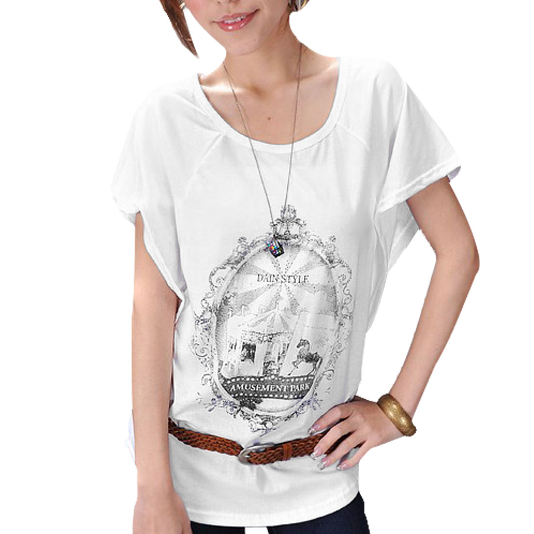 Ladies Low Round Neck Pullover Batwing Sleeves Loose T-shirt White XS