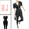 Black V Neck Short Sleeves Harem Jumpsuit XS for Women