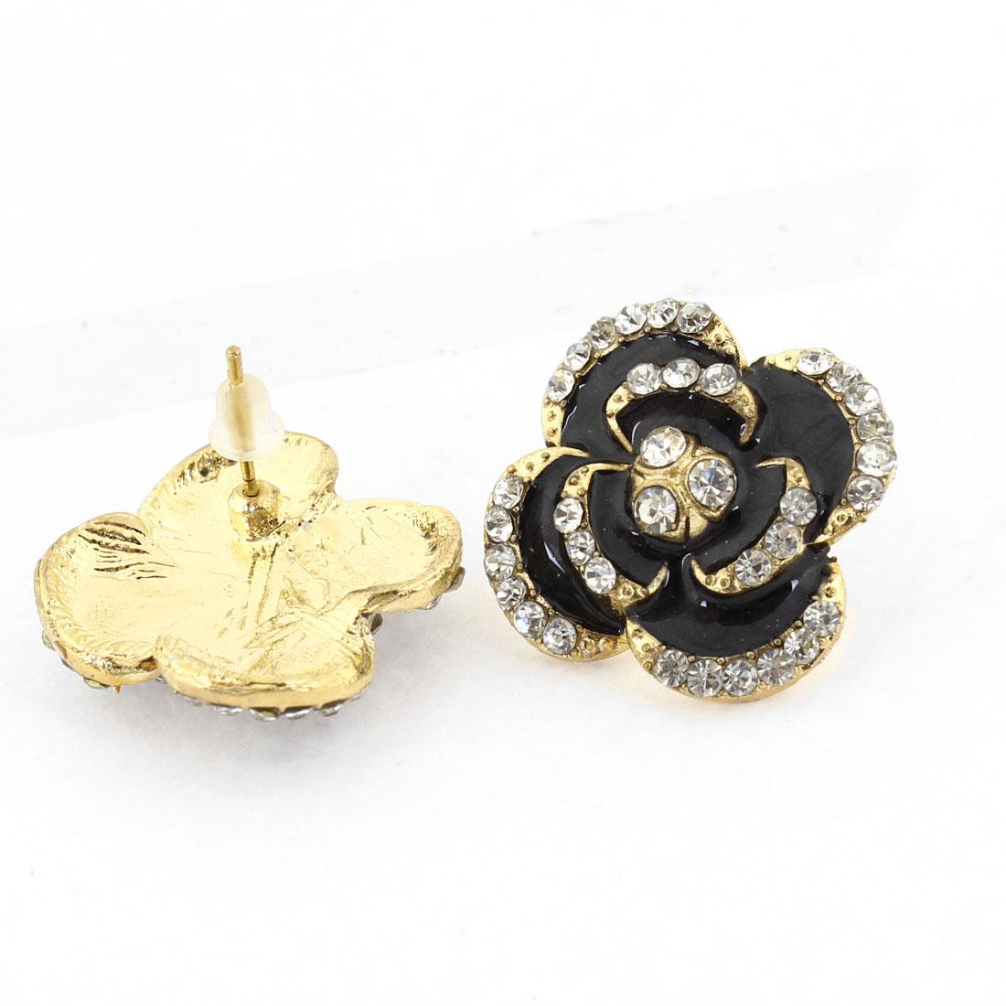 Pair Rhinestones Inlaid Flower Shaped Ornament Stud Earrings Black for Women